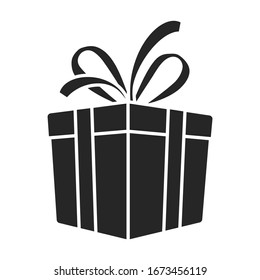 Gift box vector icon.Black vector icon isolated on white background gift box.