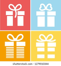 Gift Box vector icons set. Black illustration isolated for graphic and web design. - Vector