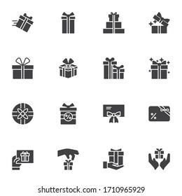 Gift box vector icons set, modern solid symbol collection, filled style pictogram pack. Signs, logo illustration. Set includes icons as birthday present, box with bow ribbon, surprise package