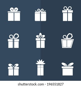 Gift box white icons set on dark background. Different styles. Holiday Presents. Vector illustration.