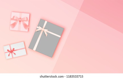 Gift box in winter sale theme with pastel color scheme vector illustration