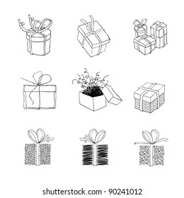 Gift box for xmas designs. Set of nine illustrations.Vector, EPS8