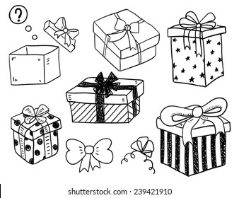 Christmas Gift Box Drawing.Sketch Gift Box Images Stock Photos Vectors Shutterstock