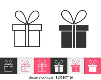 Gift boxes black linear and silhouette icons. Thin line sign of bounty box. Present outline pictogram isolated on white, red, transparent background. Vector Icon shape. Gift simple symbol closeup