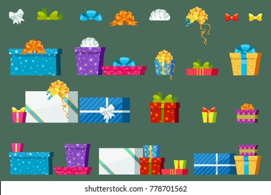 Gift boxes, bowknots and ribbons for celebration in a flat minimal vector style, christmas and holiday gifts for every taste