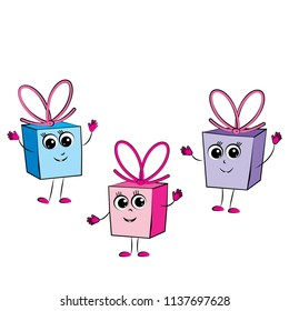Gift boxes characters cartoon. Celebration. Congratulation