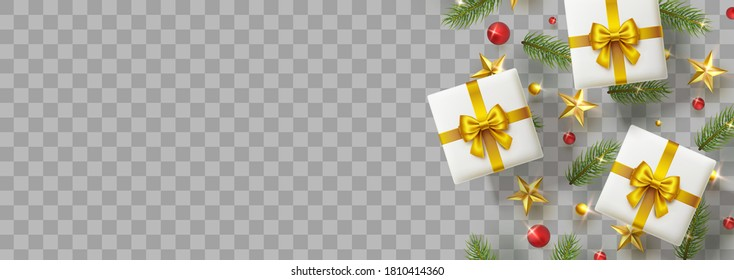 Gift boxes with green fir branches, red balls, gold stars and lights isolated on transparent background. Pine elements, xmas presents top view banner. Vector Christmas tree decoration border
