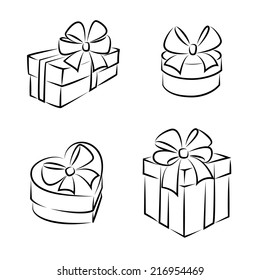 Gift boxes icons or symbols, black and white, isolated