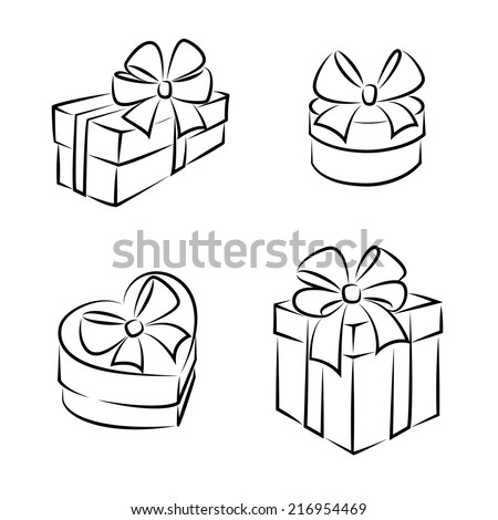 Gift Boxes Icons Symbols Black White Stock Vector Royalty Free