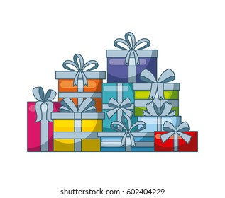 gift boxes over white background. colorful design. vector illustration