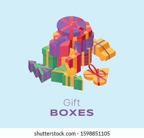 Gift boxes pile isometric color illustration. 3d presents stack, festive wrapped packages in different shapes isolated on blue background. Christmas, New Year surprises, giftboxes with ribbons