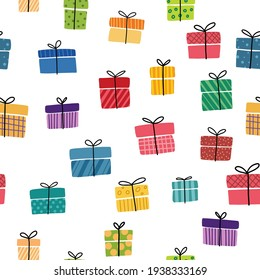 Gift boxes, presents seamless pattern vector icon set. Hand drawn doodle collection isolated on white.  Colorful wrapped paper textile. Sale shopping concept. Birthday Christmas. Cartoon flat design.