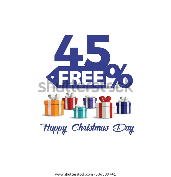 Gift boxes with red bow Christmas day discount sale vector . Sale 45% off. Vector illustration, Happy Christmas Day discount. 45% free shopping sale.