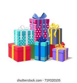 Gift boxes with ribbon set isolated on white background. Big pile of presents, surprises. Christmas, birthday, holidays concept. Vector illustration. Flat cartoon style design