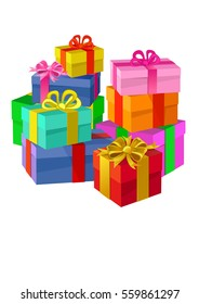 gift boxes with ribbons and bows