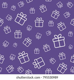 Gift boxes seamless pattern. Ultra violet color vector background