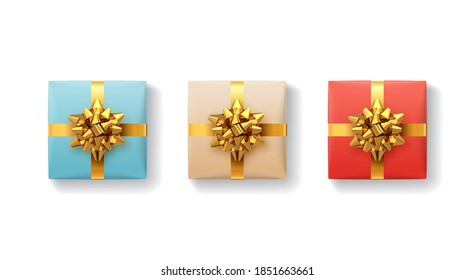 Gift boxes set. Gift box with shiny realistic gold ribbons and bow. Top view. Holiday decoration element. Collection christmas, birthday or anniversary present. Vector festive illustration.