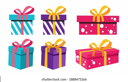 Gift boxes set. flat vector illustration for holiday or surprise