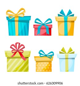 Gift boxes set on a white background. Collection for Christmas and Birthday. Flat and cartoon design