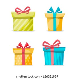 Gift boxes set on a white background. Collection for Christmas and Birthday. Flat and cartoon design vector