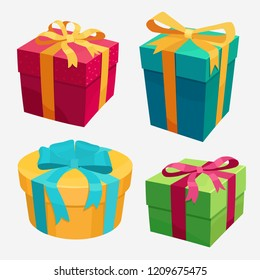 Gift Boxes set with Red Ribbon and Bow. Decorative colorful wrapped giftbox, Beautiful 3D Christmas present box. Vector