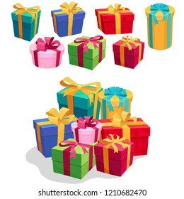 Gift Boxes set with Ribbon and Bow. Decorative colorful wrapped giftbox, Beautiful 3D Christmas present box. Vector