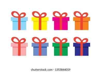 Gift boxes set, vector illustration