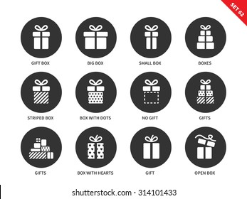 Gift boxes vector icons set. Party and celebration concept. Surprise and birthday items, gift, present, ribbon, small and big boxes. Isolated on white background