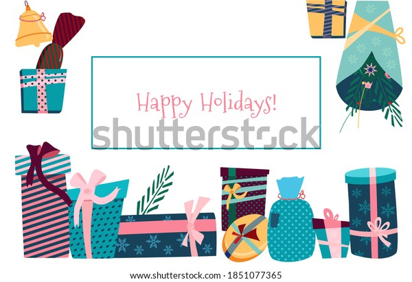 Gift boxes,convolutions in festive paper different forms in frame.Holiday decoration Postcard with text.Christmas,New year presents with ribbons and bows.Rag bags,packaging for Birthday congratulation