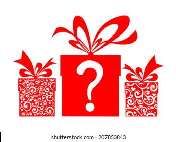 Gift boxs with a question mark. Vector Illustration