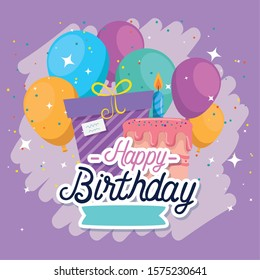 Gift cake and balloons design, happy birthday celebration decoration party festive and surprise theme Vector illustration