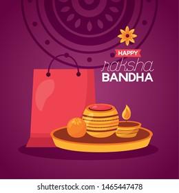 gift candles happy raksha bandhan vector illustration