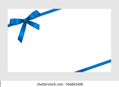 Gift Card Blue Ribbon Bow On Stock Vector Royalty Free 566861608