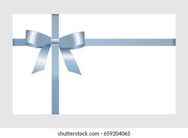 Gift Card Blue Ribbon Bow On Stock Vector Royalty Free 550879897