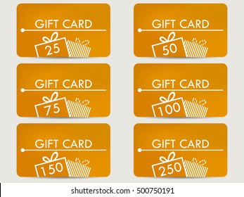 Gift card with a gift box. Realistic gift card with a gradient background color. Set of vector illustrations.