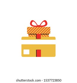 Gift card and gift box with ribbon, loyalty program, earn points, redeem present box, more discount, perks concept. Flat design
