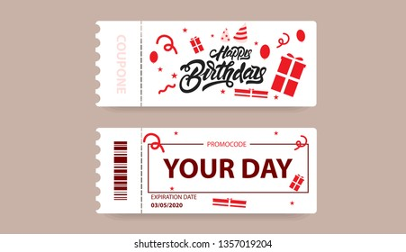 Gift card with coupon code. happy Birthday coupon illustration in lettering style with gift and presents illustrations. Vector