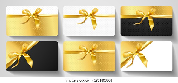 Gift card design collection. Blank template with gold ribbon, satin bow on luxury golden, black and white background with stars. Holiday vector set for gift certificate, voucher, coupon, shopping card