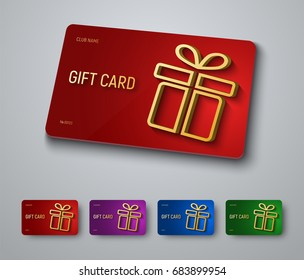 Gift card design with a gold 3D box with a shadow. A set of templates on a red, blue, purple and green background. Vector illustration