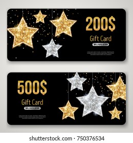 Gift Card Design with Gold Glitter Stars on Black. Vector illustration