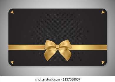 Gift card (Gift card discount), Holiday reward card, Gift coupon with golden ribbon, gold bow and black pattern. Black background design (dark) for voucher template design, invitation, ticket. Vector
