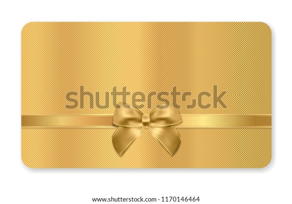 Gift card (Gift card discount), Holiday reward card, Blank Gift coupon with golden ribbon, gold bow and golden pattern. Metal background design for voucher template design, invitation, ticket. Vector