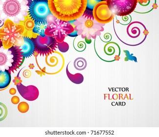 Gift card. Floral design background.