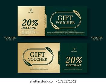 Gift card format Emerald green tones Decorated with gold leaf ellipse, modern, smooth, elegant, Middle East. Sales promotion. Illustration/Vector