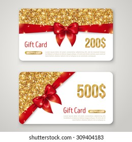 Gift Card with Gold Glitter Texture and Red Bow. Voucher Design, Holiday Invitation. Glowing New Year or Christmas Certificate for Shopping.