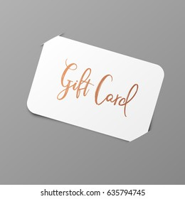 Gift Card with Golden Title. Vector Mockup with placeholder - stock vector