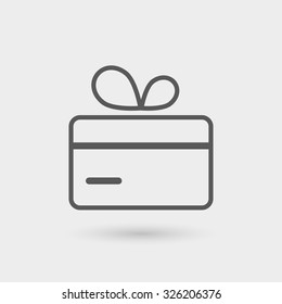 gift card icon, thin line, black color with shadow