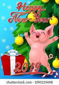Gift card with an inscription of Happy New year 2018, a joyful pink pig, a box, a fir-tree with jewelry and a Candy cane. A vector illustration in cartoon 3d style, vertical