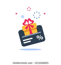 Gift card, loyalty program, earn points, redeem present box, more discount, perks concept, vector flat icon