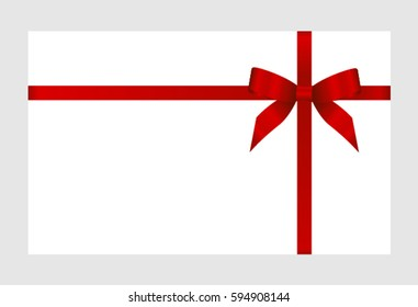 Gift Card With Red Ribbon And A Bow on white background.  Gift Voucher Template.  Vector image.